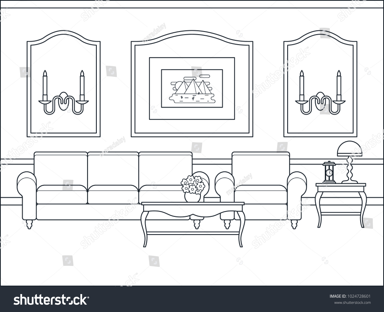 Room Interior Vector Home Flat Design Stock Vector 1024728601 ...