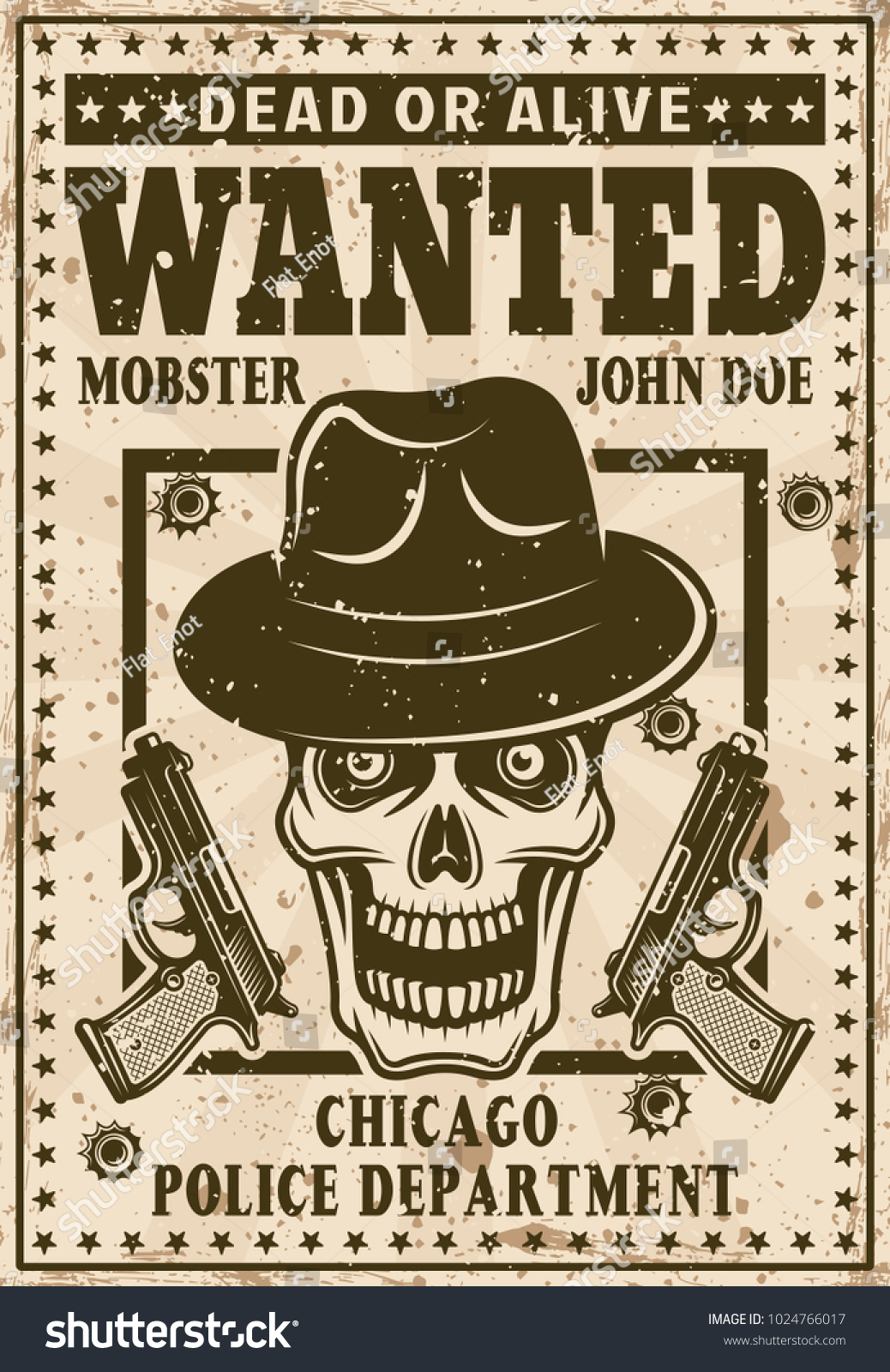 Mafia Wanted Poster Vintage Style Mobster Stock Vector Royalty Free