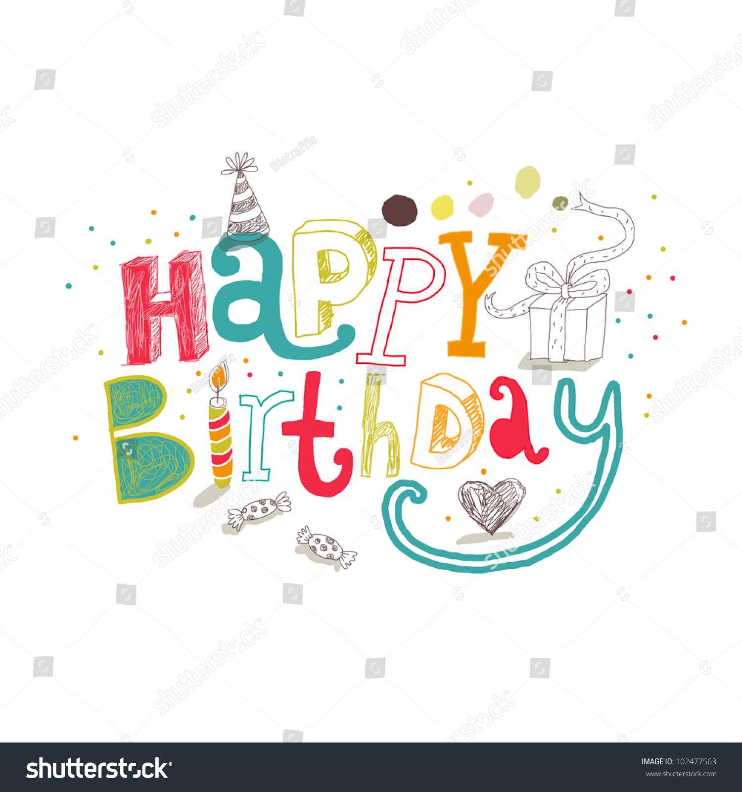 Happy birthday greetings vector drawing stock vector 102477563 happy birthday greetings vector drawing kristyandbryce Image collections