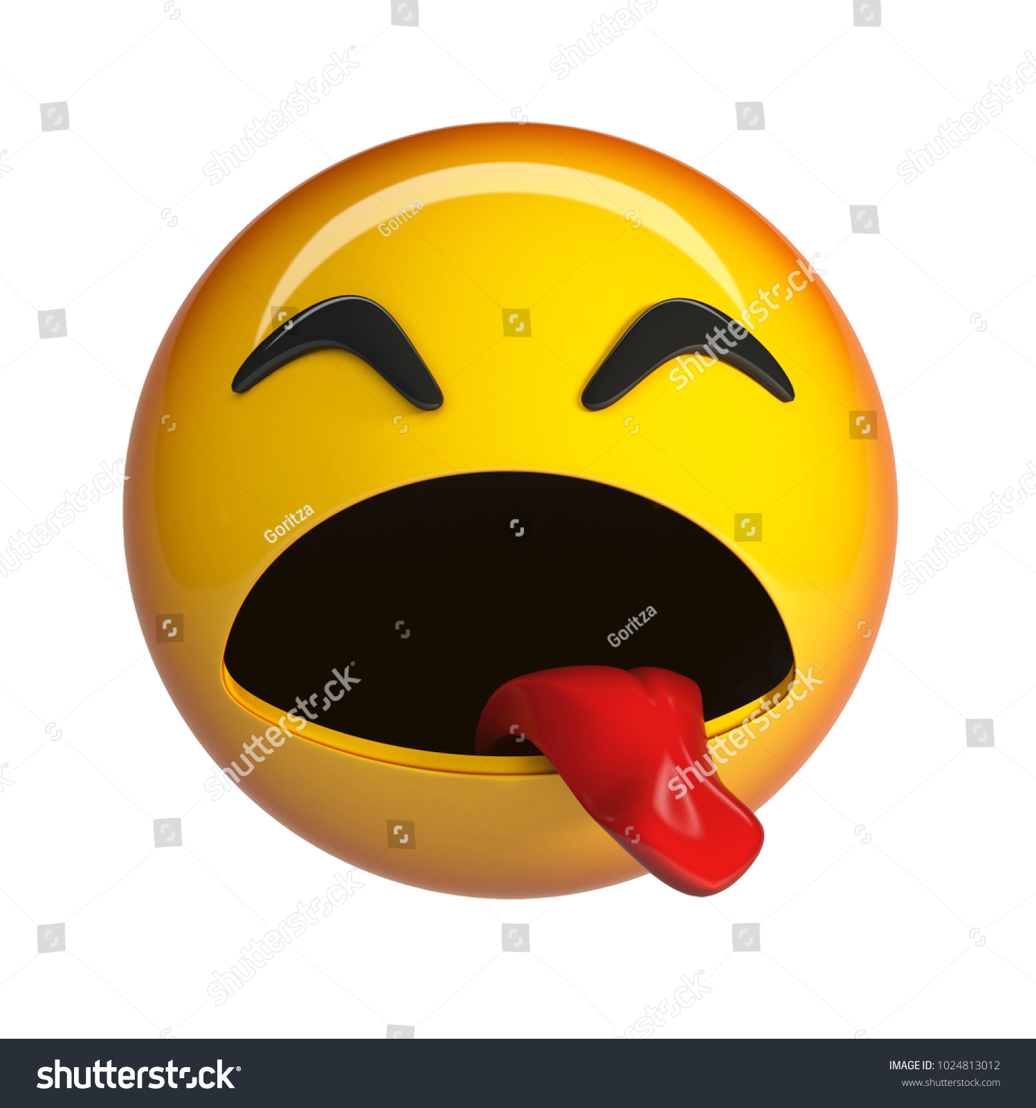 Sick emoji disgust face emoticon 3d rendering isolated on white background