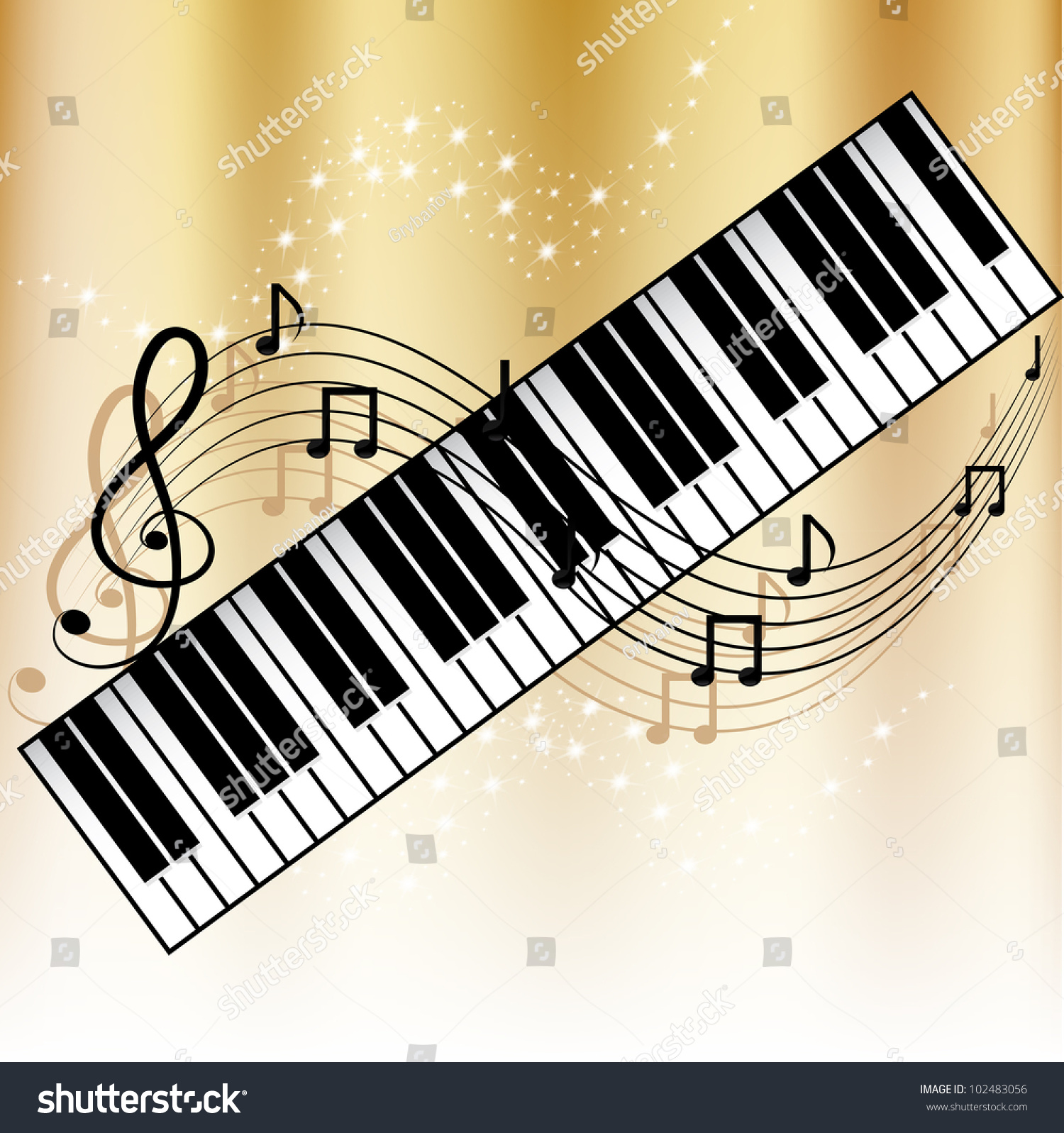 Piano Background Music: Background With Music Notes And Piano Stock Vector