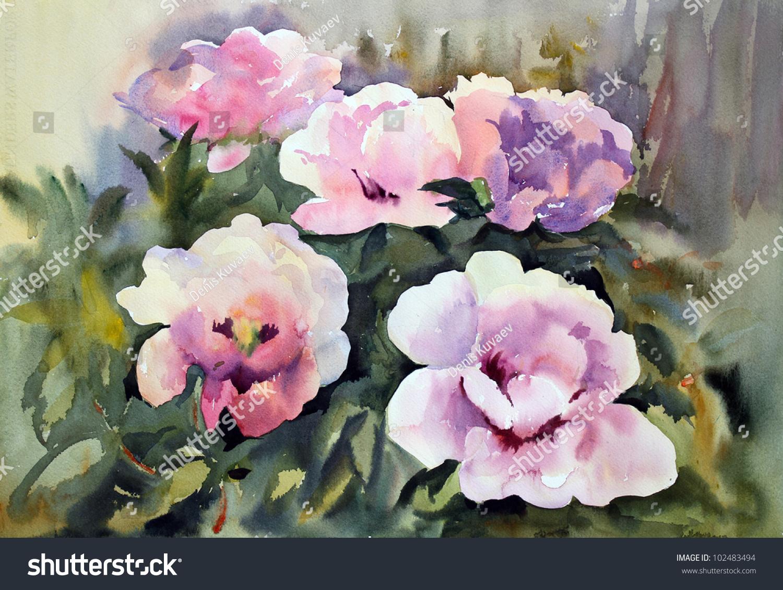 Watercolor Painting Beautiful Flowers Stock Illustration 102483494