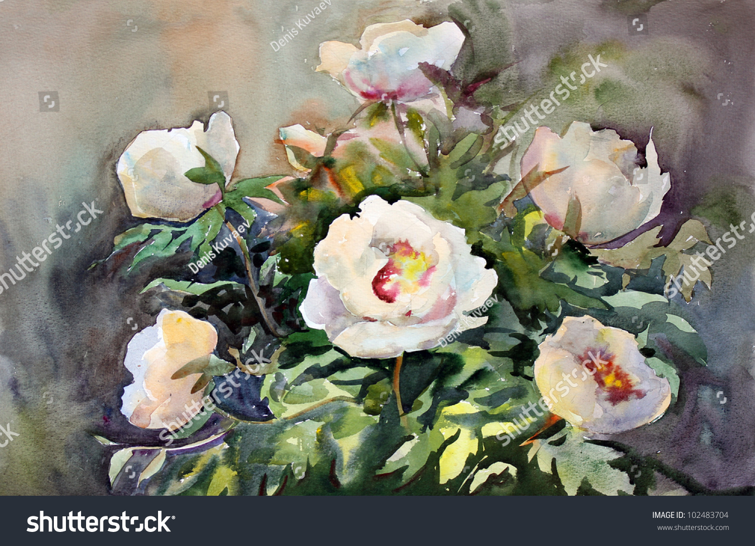 Watercolor painting beautiful flowers stock illustration 102483704 watercolor painting of the beautiful flowers izmirmasajfo Image collections