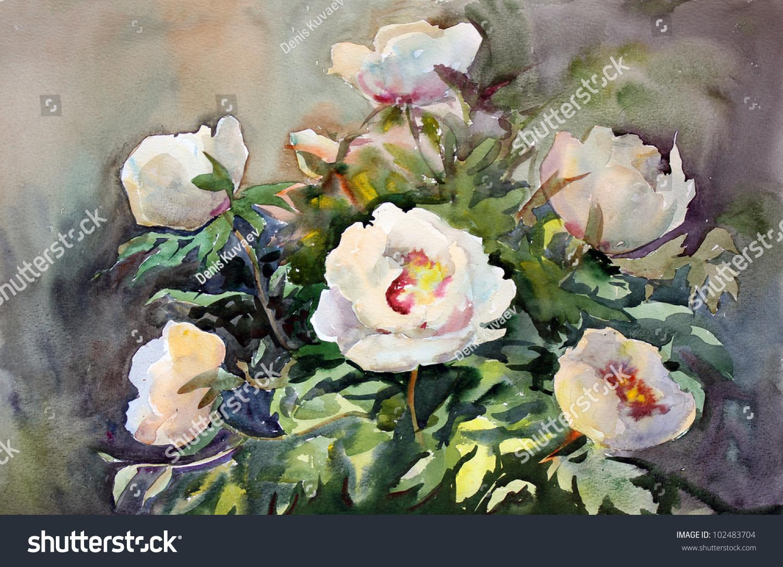 Watercolor painting beautiful flowers stock illustration 102483704 watercolor painting of the beautiful flowers izmirmasajfo