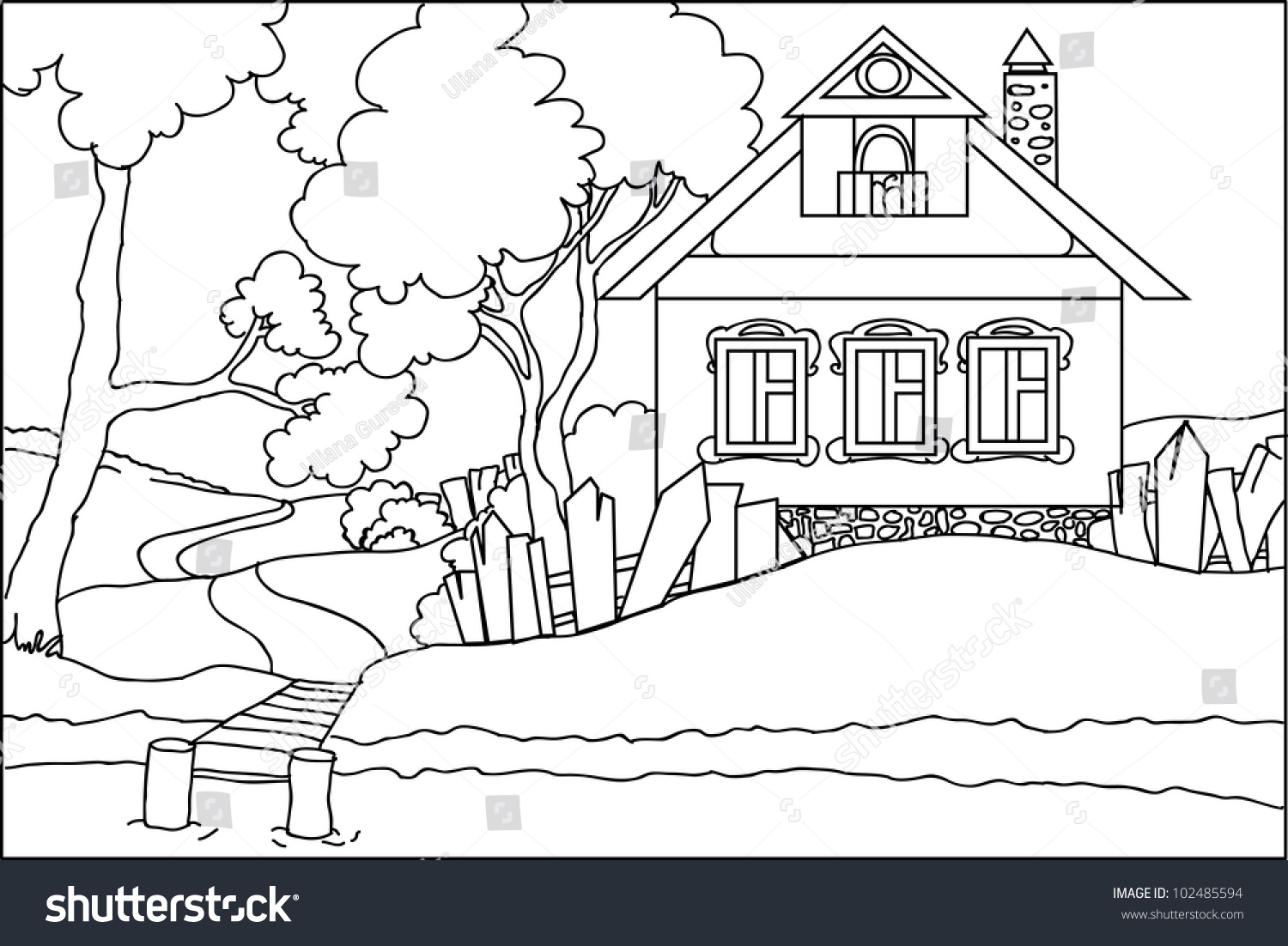 color book old house river stock vector 102485594 shutterstock