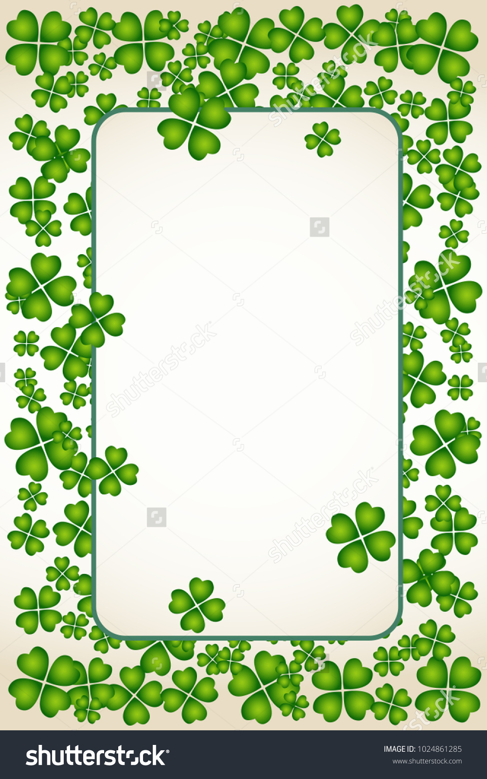 Saint patricks day vector frame small stock vector 1024861285 saint patricks day vector frame with small green trefoil clover shamrock leaves irish festival celebration biocorpaavc Gallery