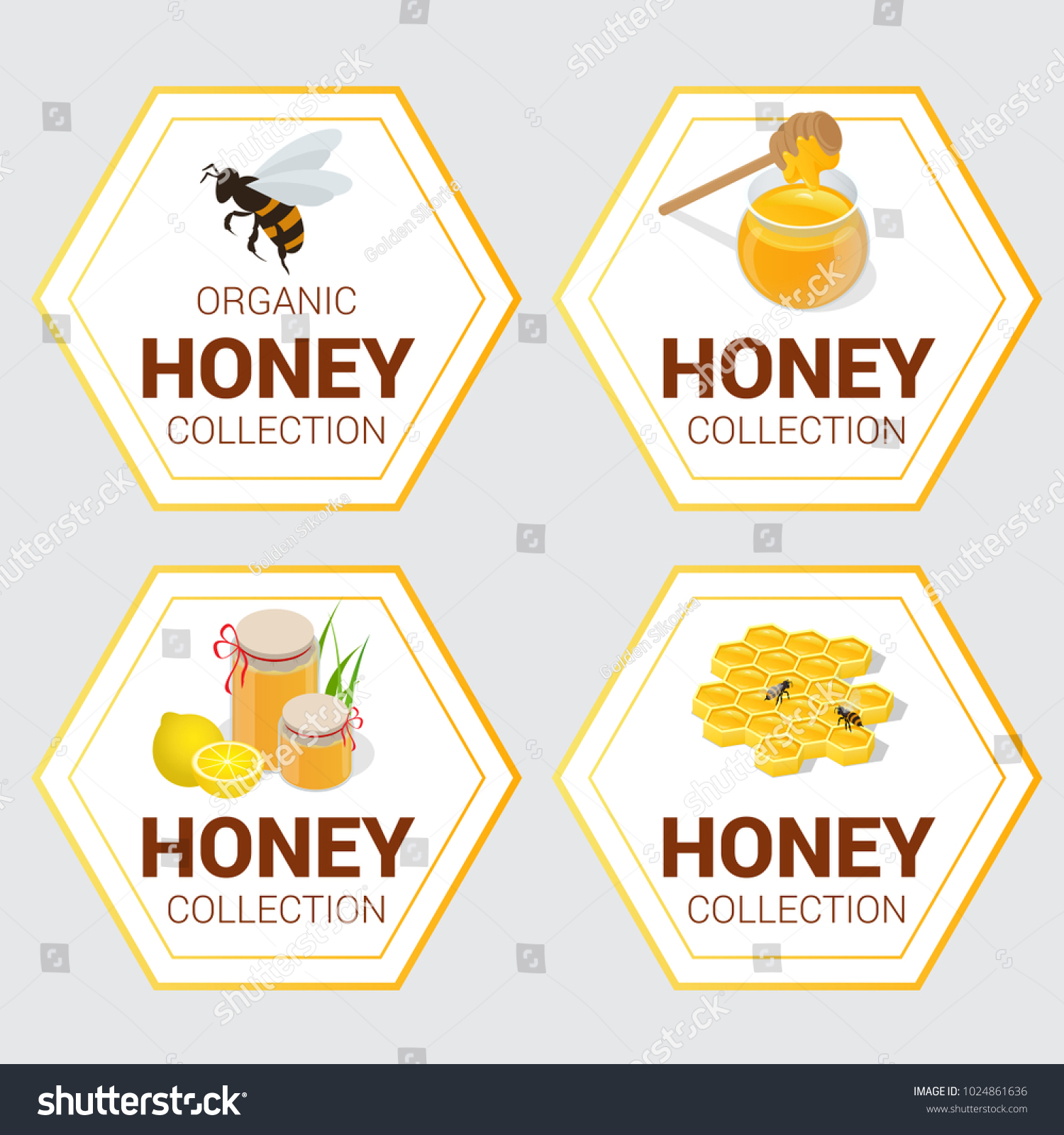 Vector set raw honey labels greetings stock vector 1024861636 vector set of raw honey labels for greetings and promotion bestseller best choice m4hsunfo
