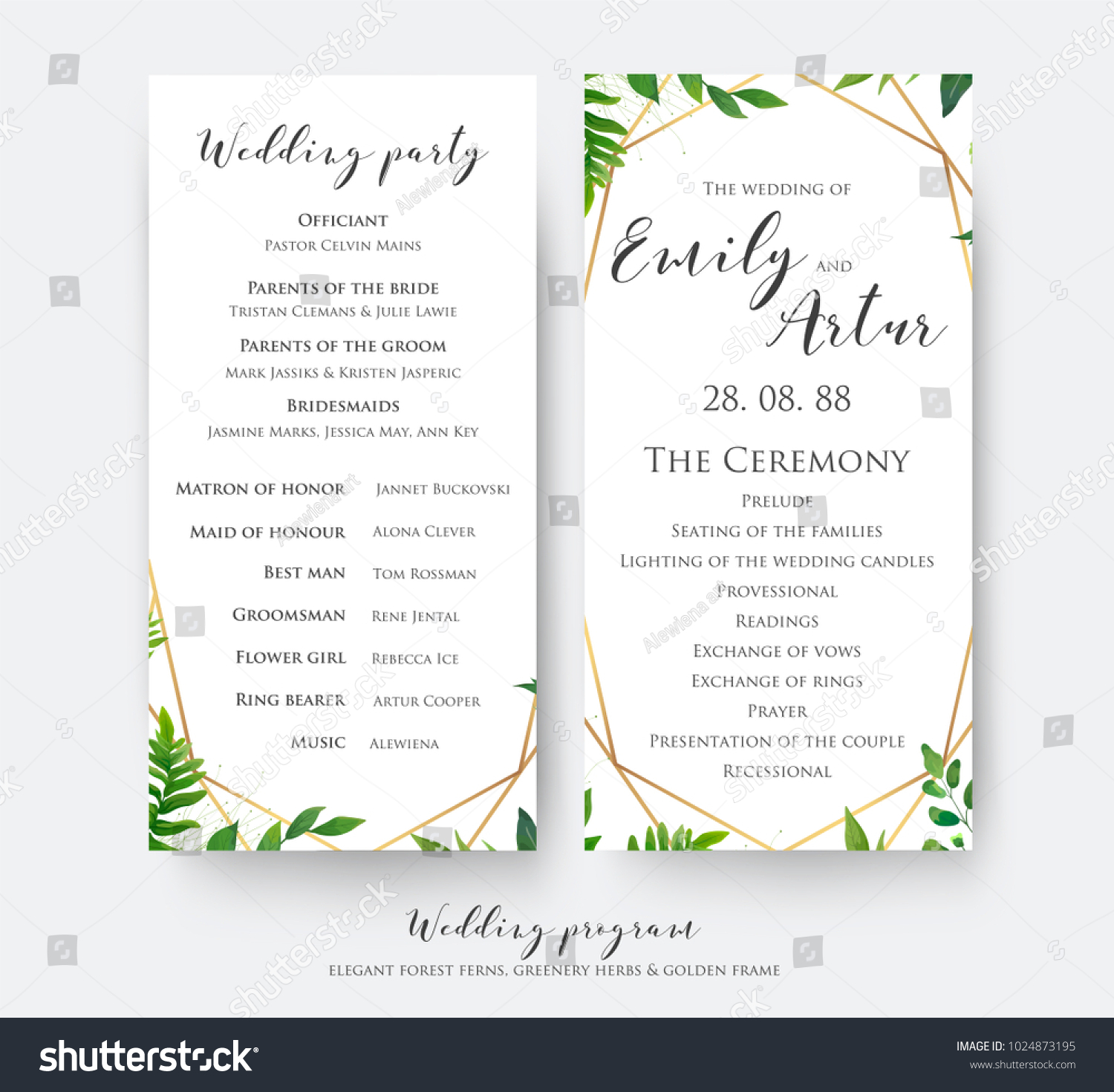Wedding Program Card Ceremony Party Modern Stock Vector (Royalty ...