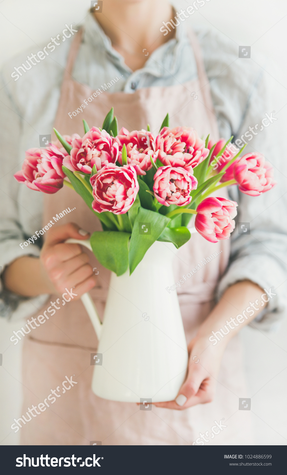 Spring Flowers Arrangement Woman Pastel Pink Stock Photo Edit Now 1024886599