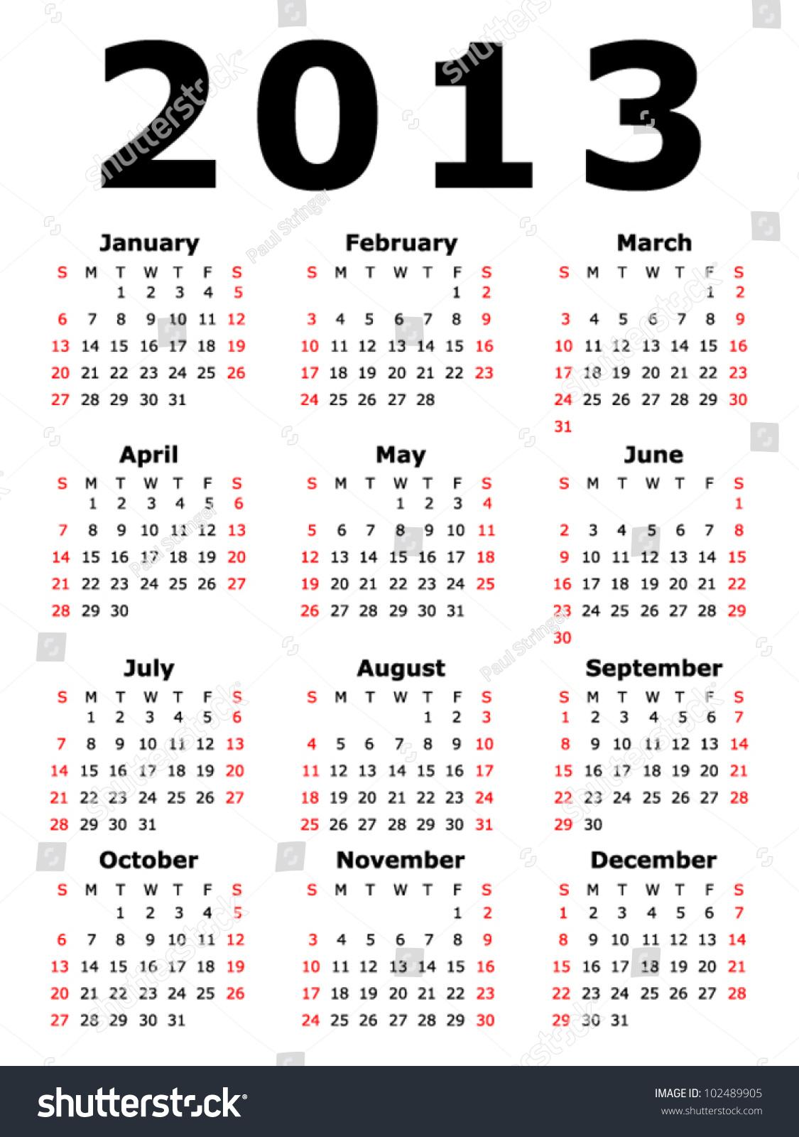 simple 2013 calendar eps 10 stock vector 102489905