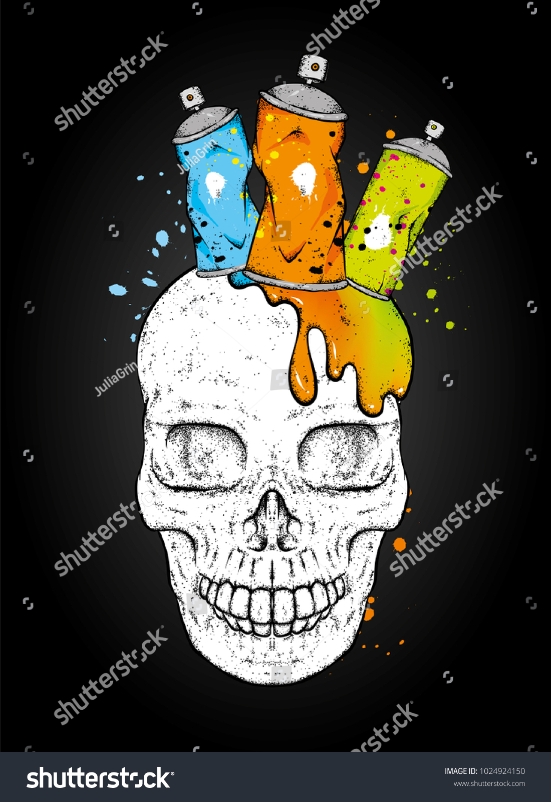 Skull And Ballons With Paint For Graffiti Skull In The Crown Of Cans Vector