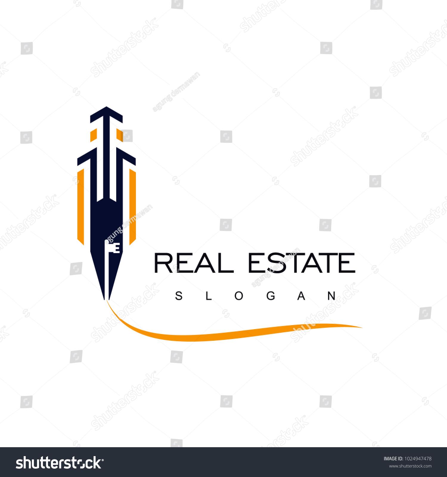 Real Estate Logo Pen Icon Key Stock Vector Royalty Free 1024947478