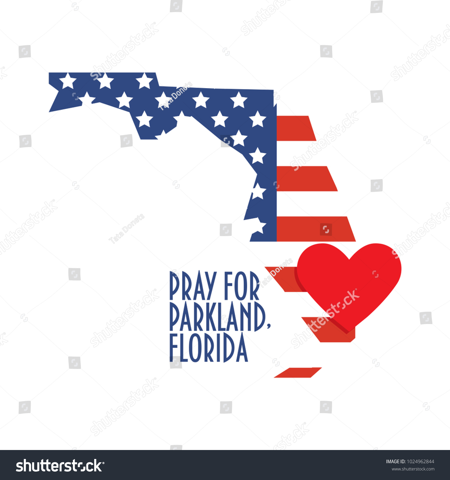 Parkland Florida Map.Pray Parkland Florida Vector Illustration Great Stock Vector