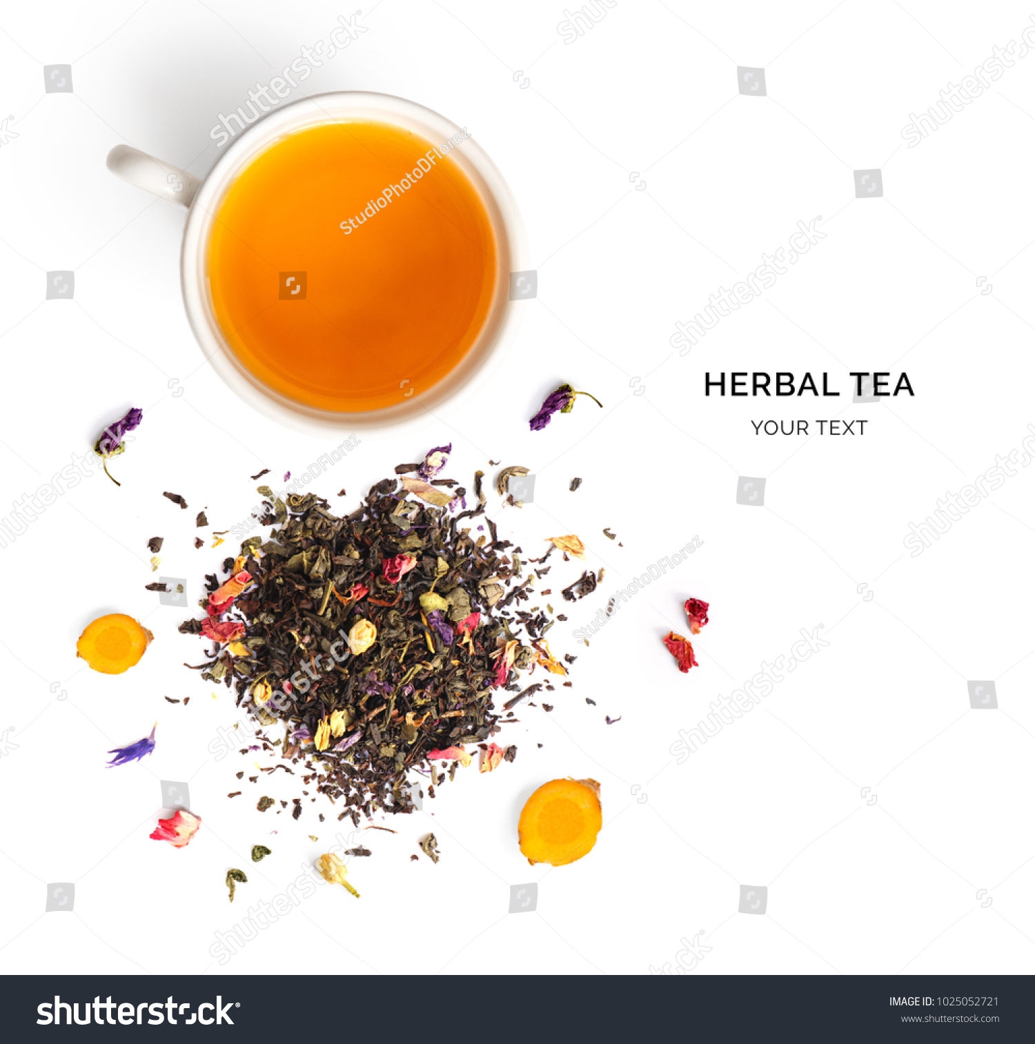Creative layout made of cup of herbal tea on a white background. Top view. #1025052721