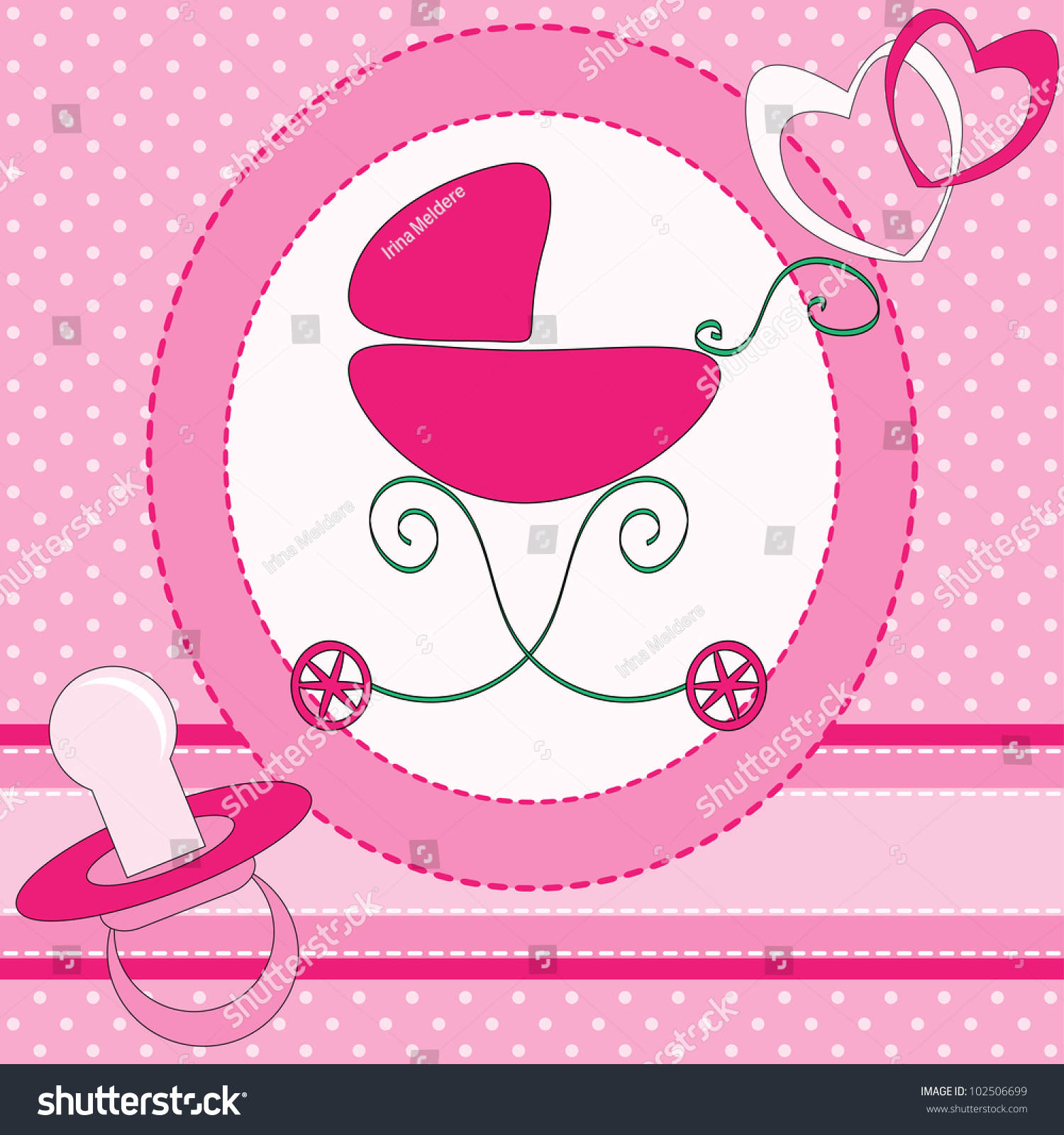 Baby girl greeting card stock illustration 102506699 shutterstock baby girl greeting card kristyandbryce Images