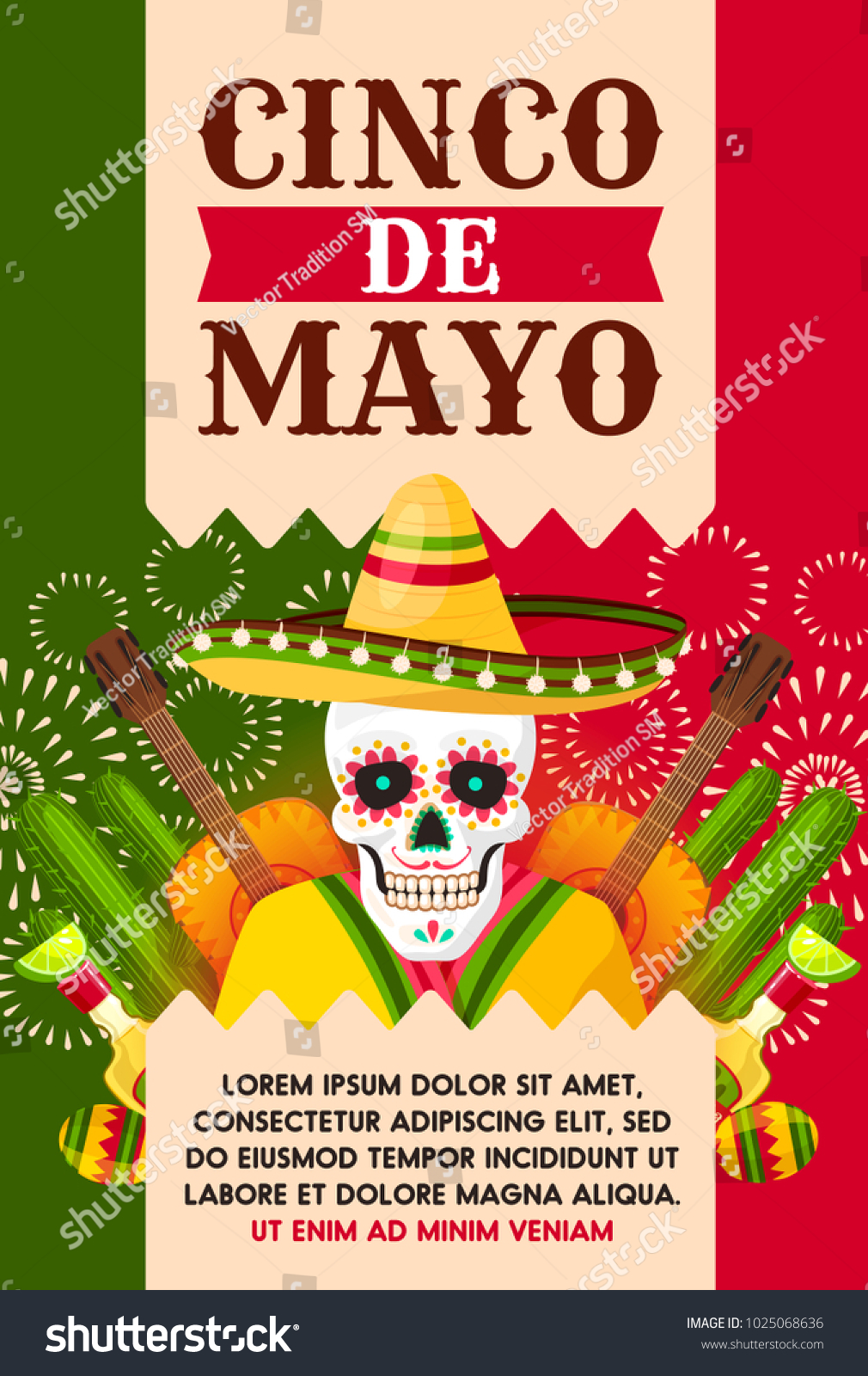Cinco De Mayo Mexican Holiday Greeting Stock Vector Royalty Free