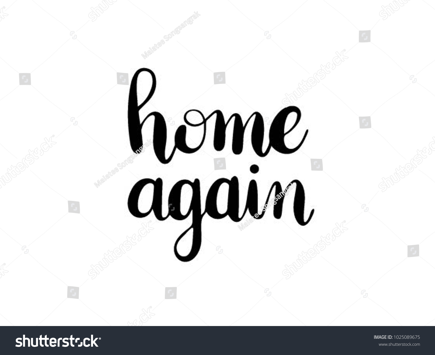 Home Again Calligraphy Hand Lettering Vector Stock Vector 1025089675 ...