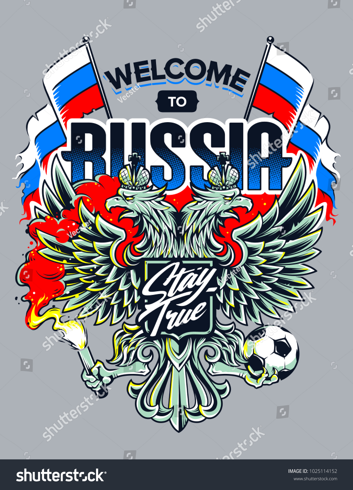 Welcome Russia Vector Illustration Russian National Stock Vector