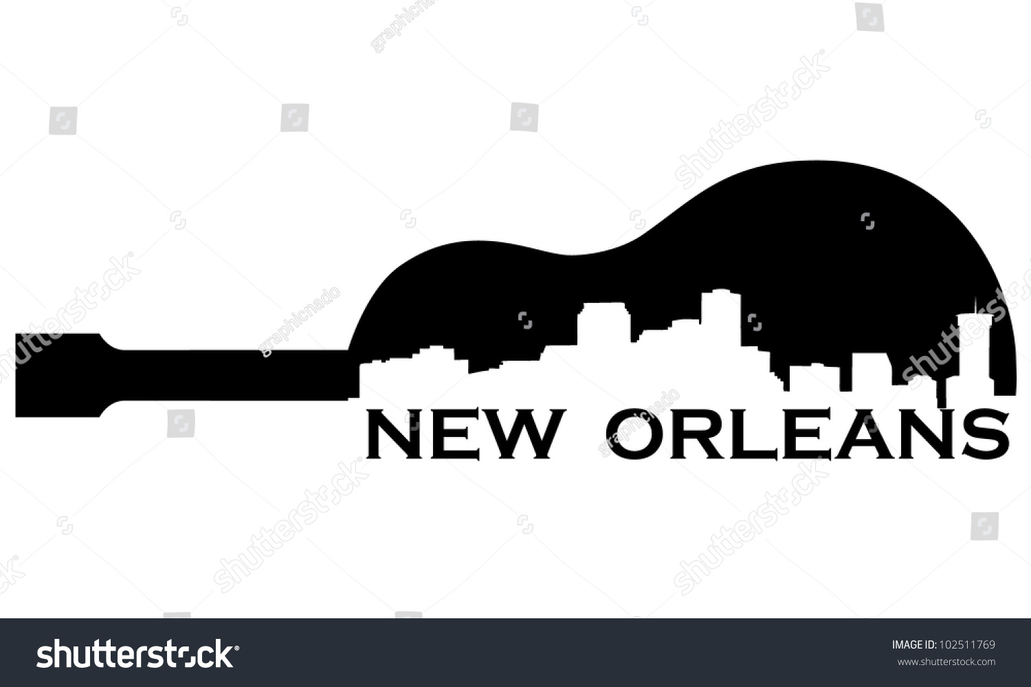 City New Orleans Highrise Buildings Skyline Stock Vector ...
