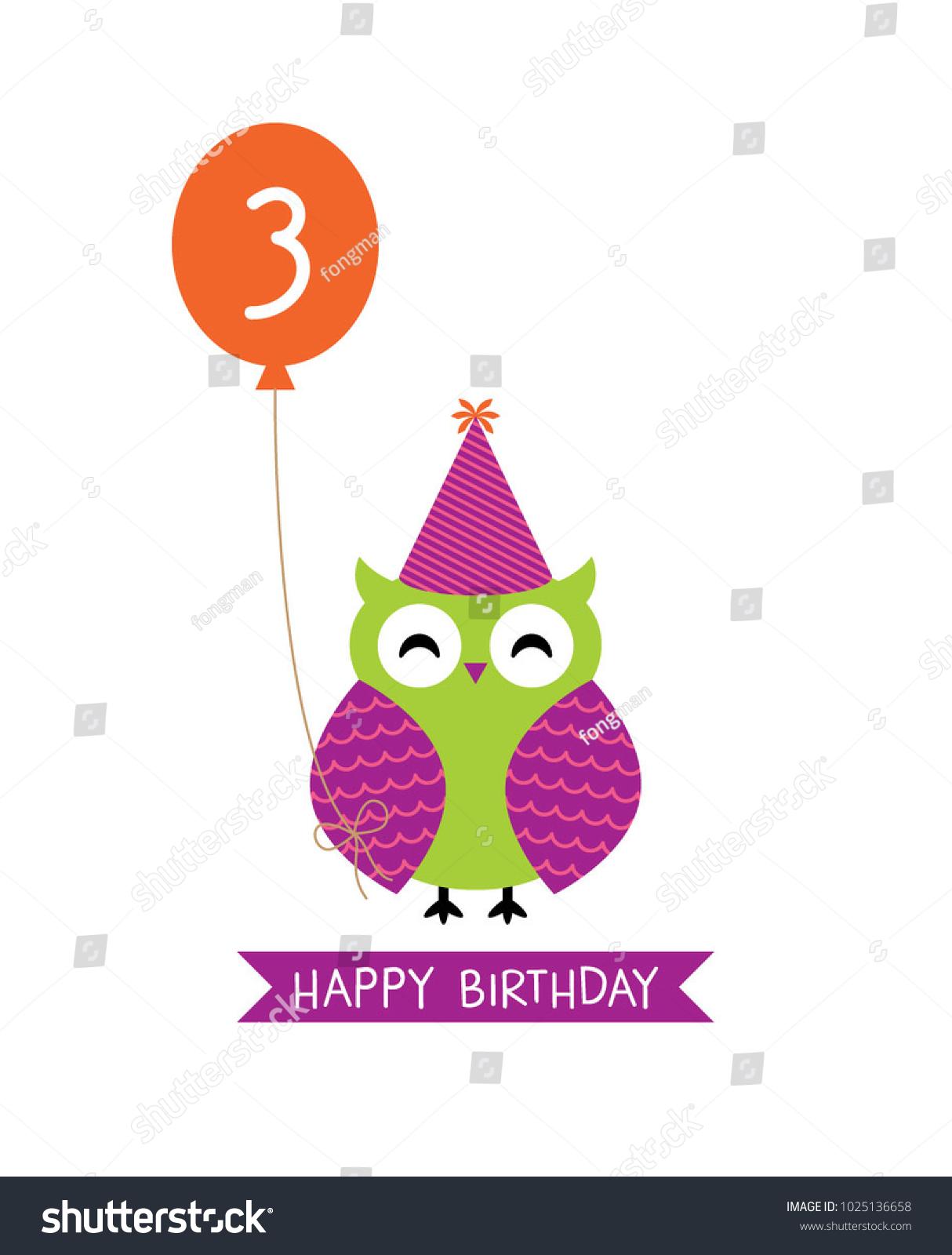 Cute Owl Happy 3rd Birthday Greeting Stock Vector Royalty Free