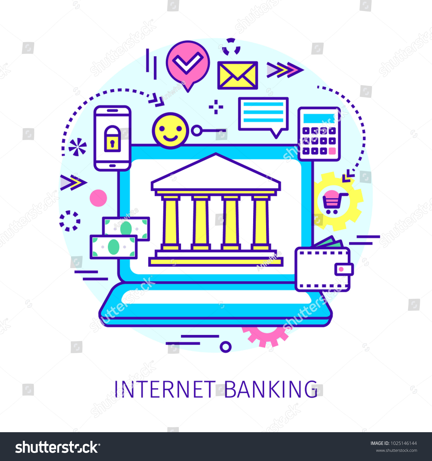 Concept internet banking open notebook symbol stock vector concept of internet banking open notebook with symbol of bank on the screen and icons biocorpaavc Gallery