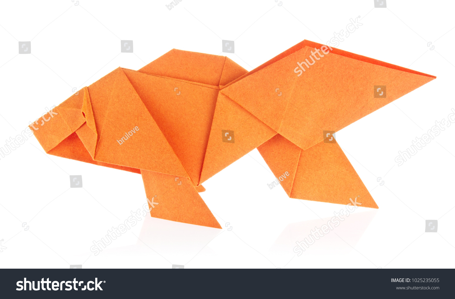 Orange fish origami isolated on white stock photo 1025235055 orange fish of origami isolated on white background jeuxipadfo Images