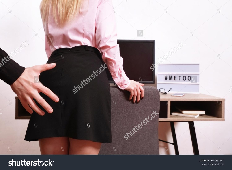 Ass Grope man hand groping touching womans buttocks stock photo (edit