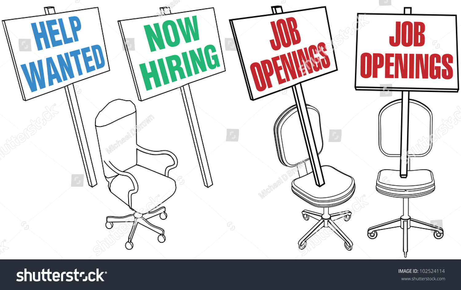 job hiring sign empty office chair stock vector   - job hiring sign empty office chair icons for human resources web pages andnewspaper classified ads