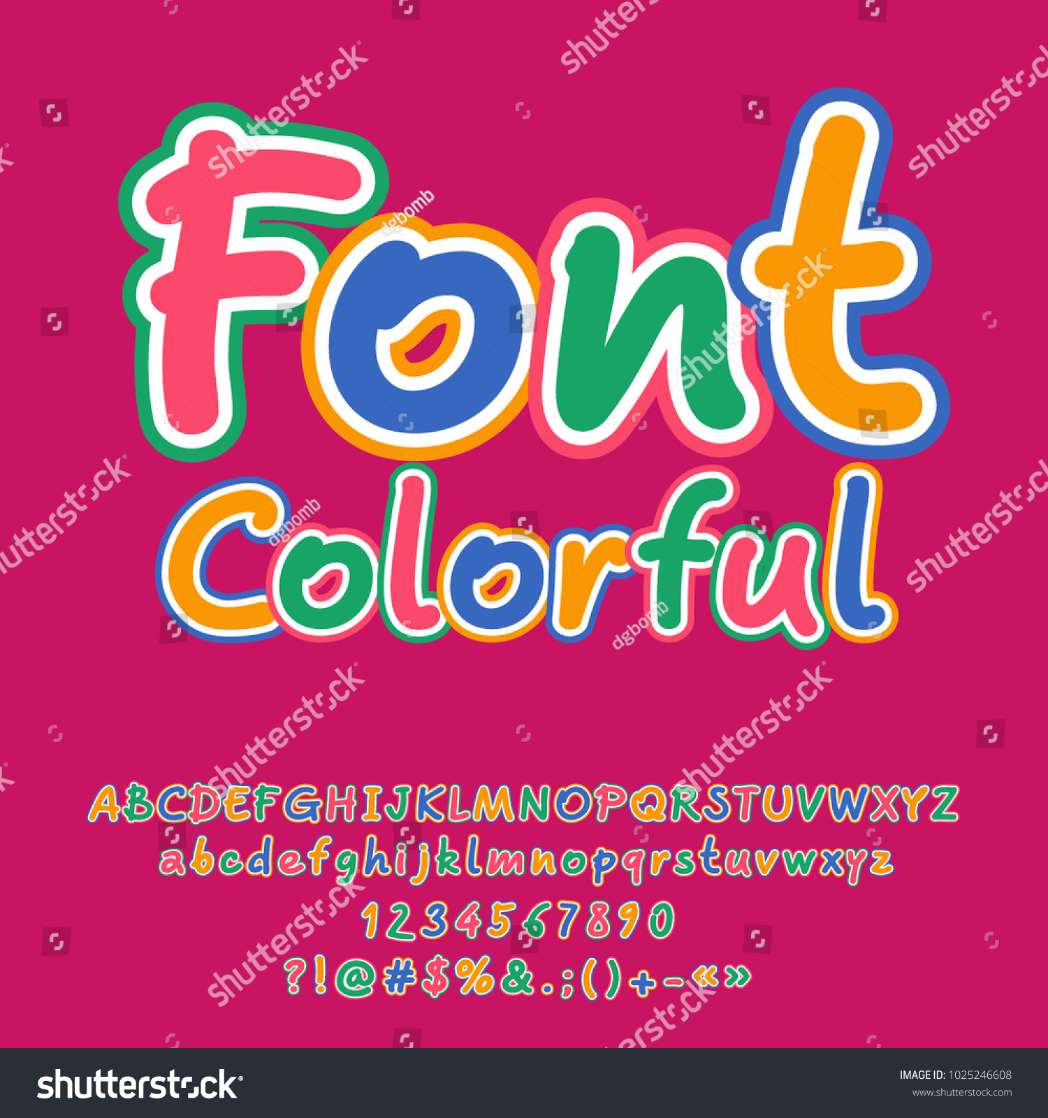 Vector Funny Colorful Font Set Alphabet Stock Vector 1025246608 ...