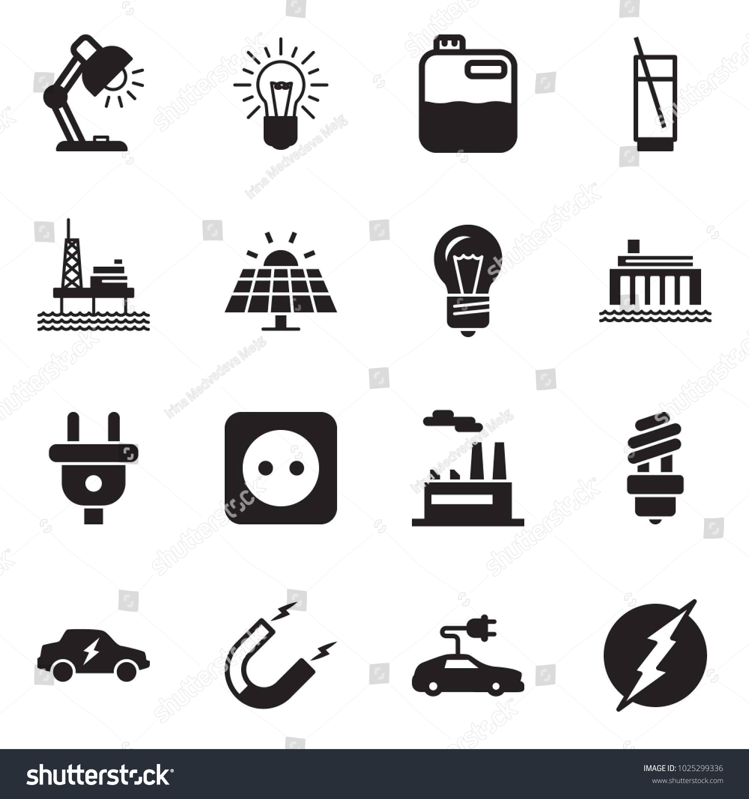 Solid Black Vector Icon Set Table Stock Royalty Free Circuit Panel Id Chart Kit Quickly And Lamp Bulb Canister Soda
