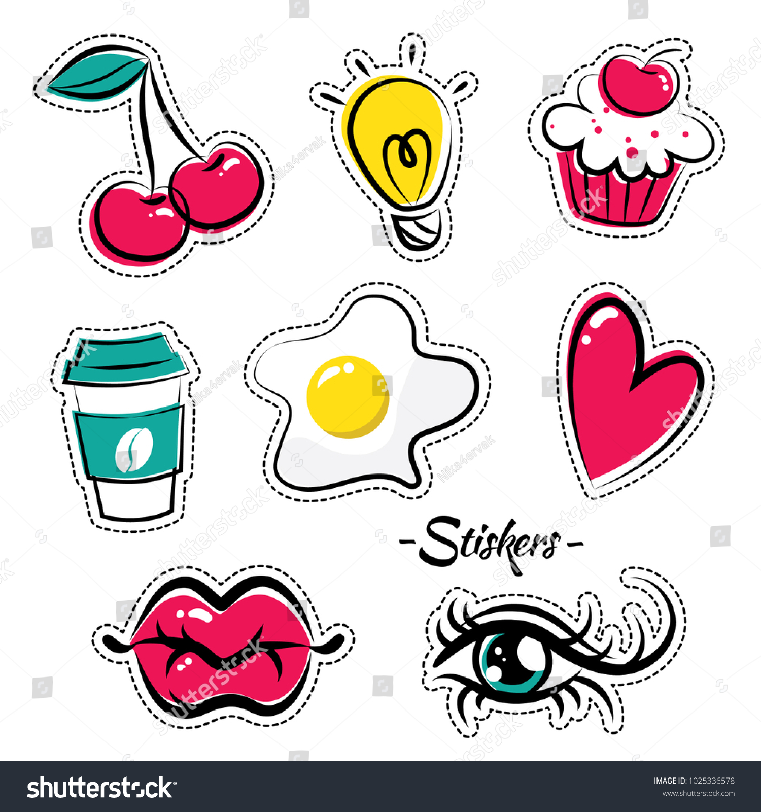 Bright Funny Stickers Form Lips Eyes Stock Vector (Royalty