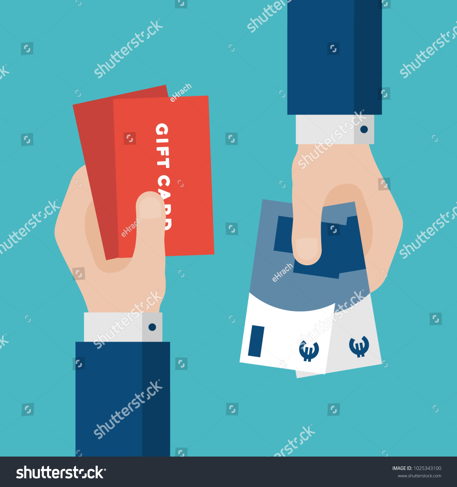 Flat Design Exchange Gift Cards Euros Stock Vector 1025343100 ...