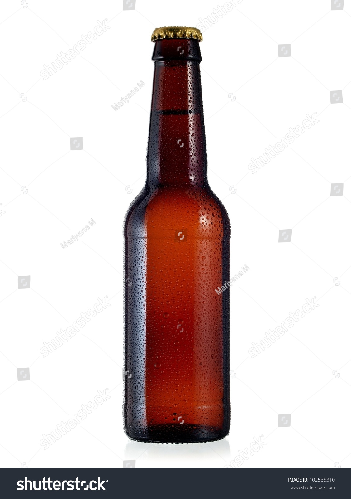 Beer bottle with drops #102535310