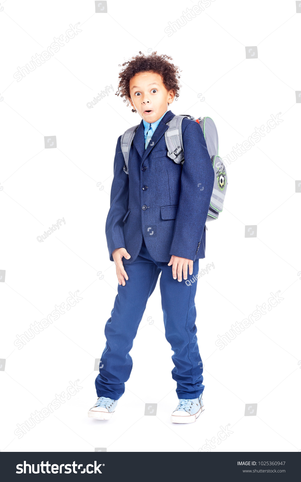 Portrait Cute Mixed Race Boy Curly Stock Photo Edit Now 1025360947
