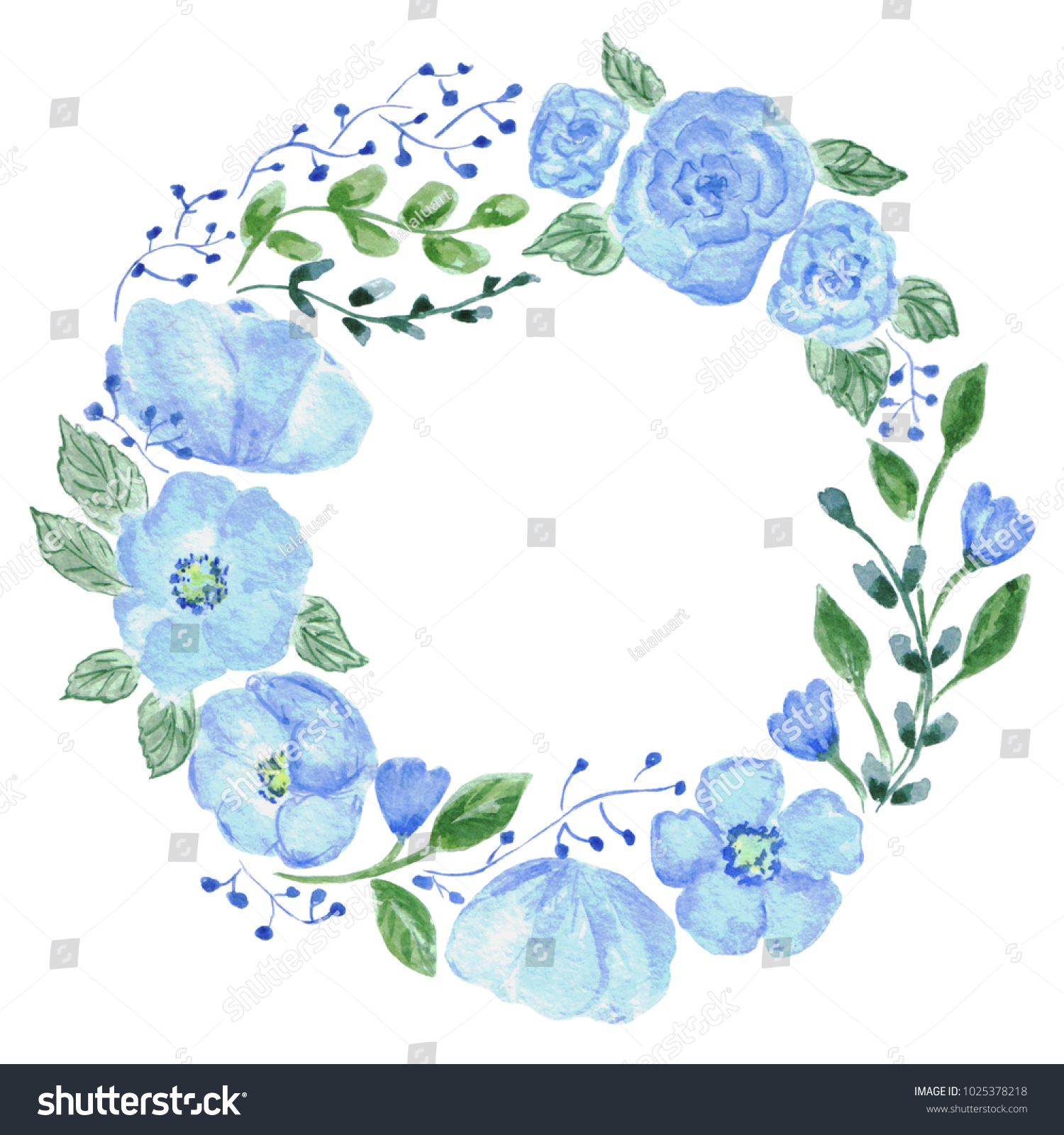 Floral wreath blue flowers green leaves stock illustration floral wreath blue flowers and green leaves watercolor illustration invitation card design izmirmasajfo