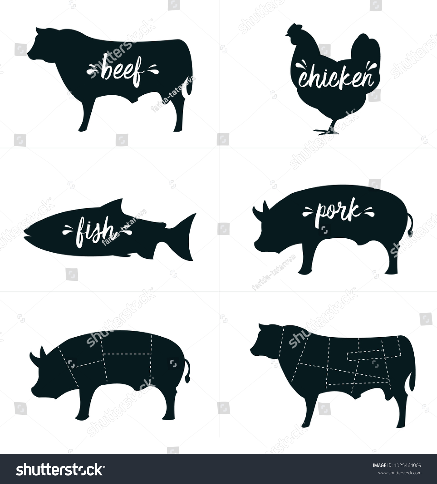 Vector Farm Animals Silhouettes Set Meat Stock Royalty Free Cut Diagrams Cuts