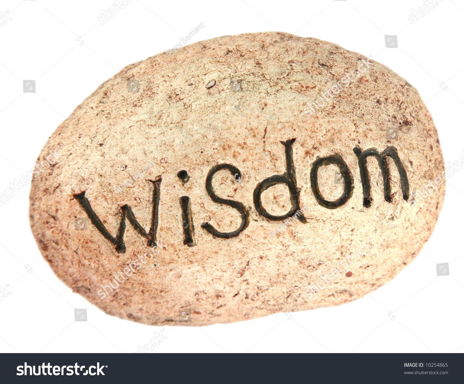 The Word Wisdom Written On A Rock For A Garden Stock Photo ...