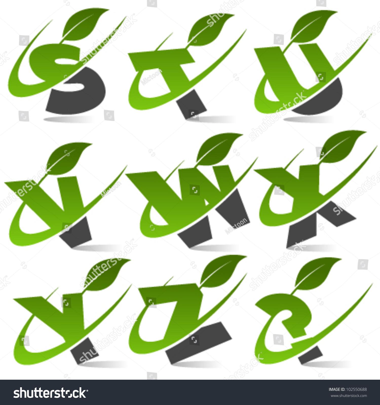 Stock Vector Swoosh Green