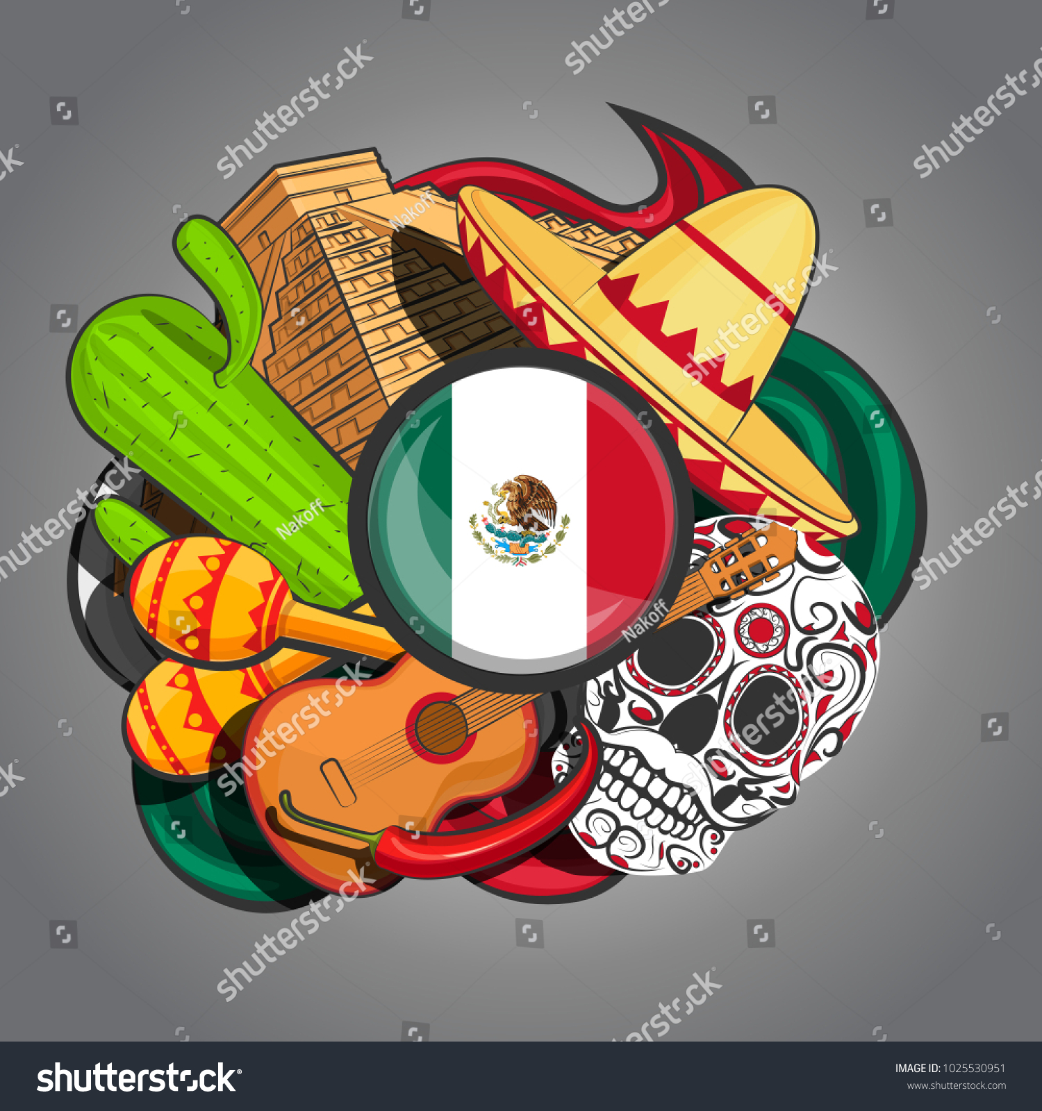 Symbols Mexico On Abstract Background Flag Stock Vector Royalty