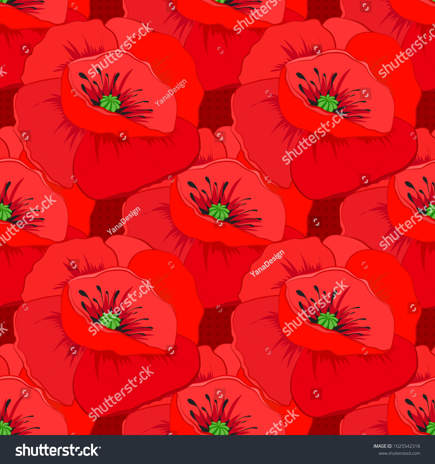 Vector Striped Seamless Pattern Big Poppy Stock Vector Royalty Free