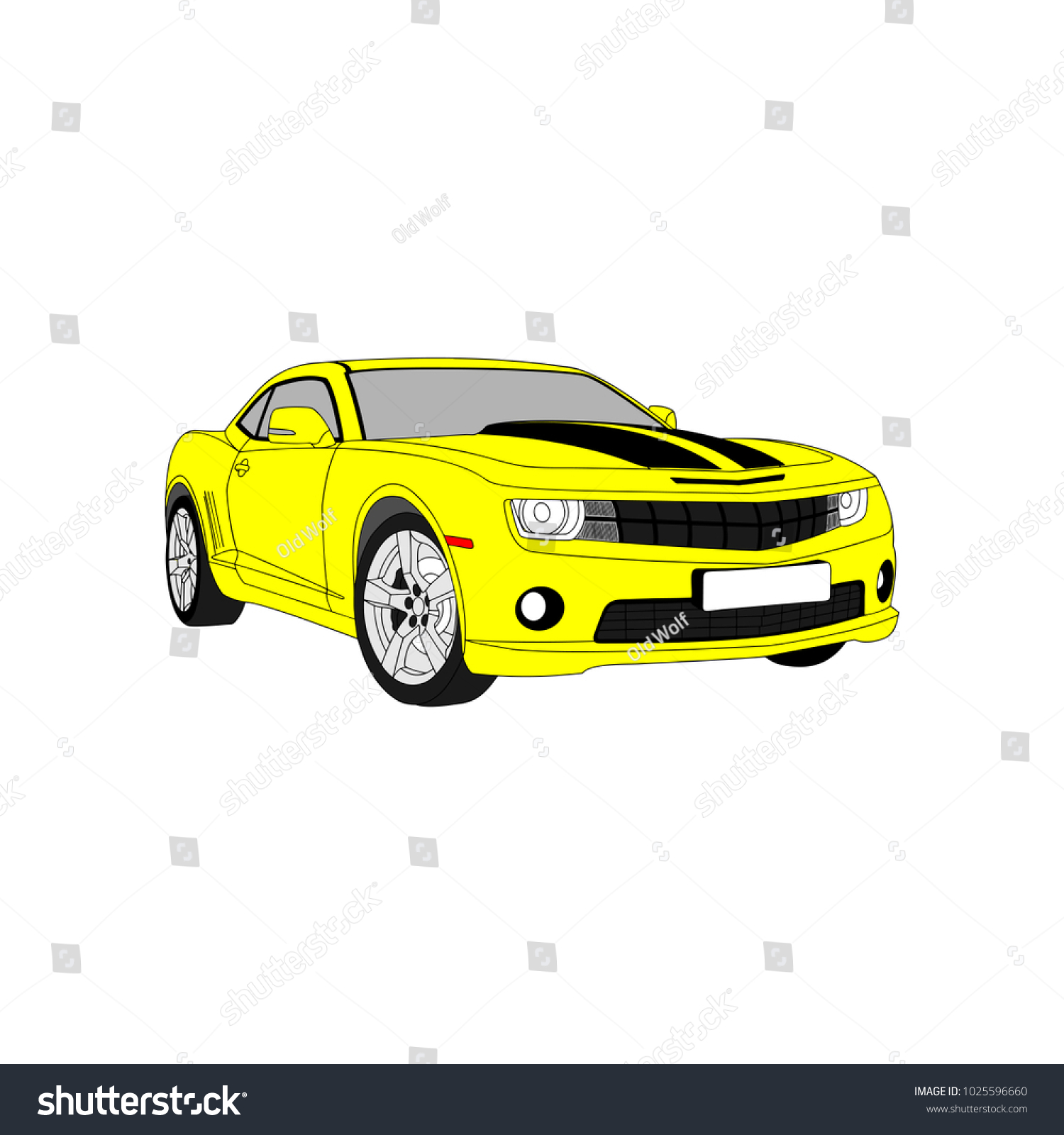 Car Icon Vector Illustration Yellow Color