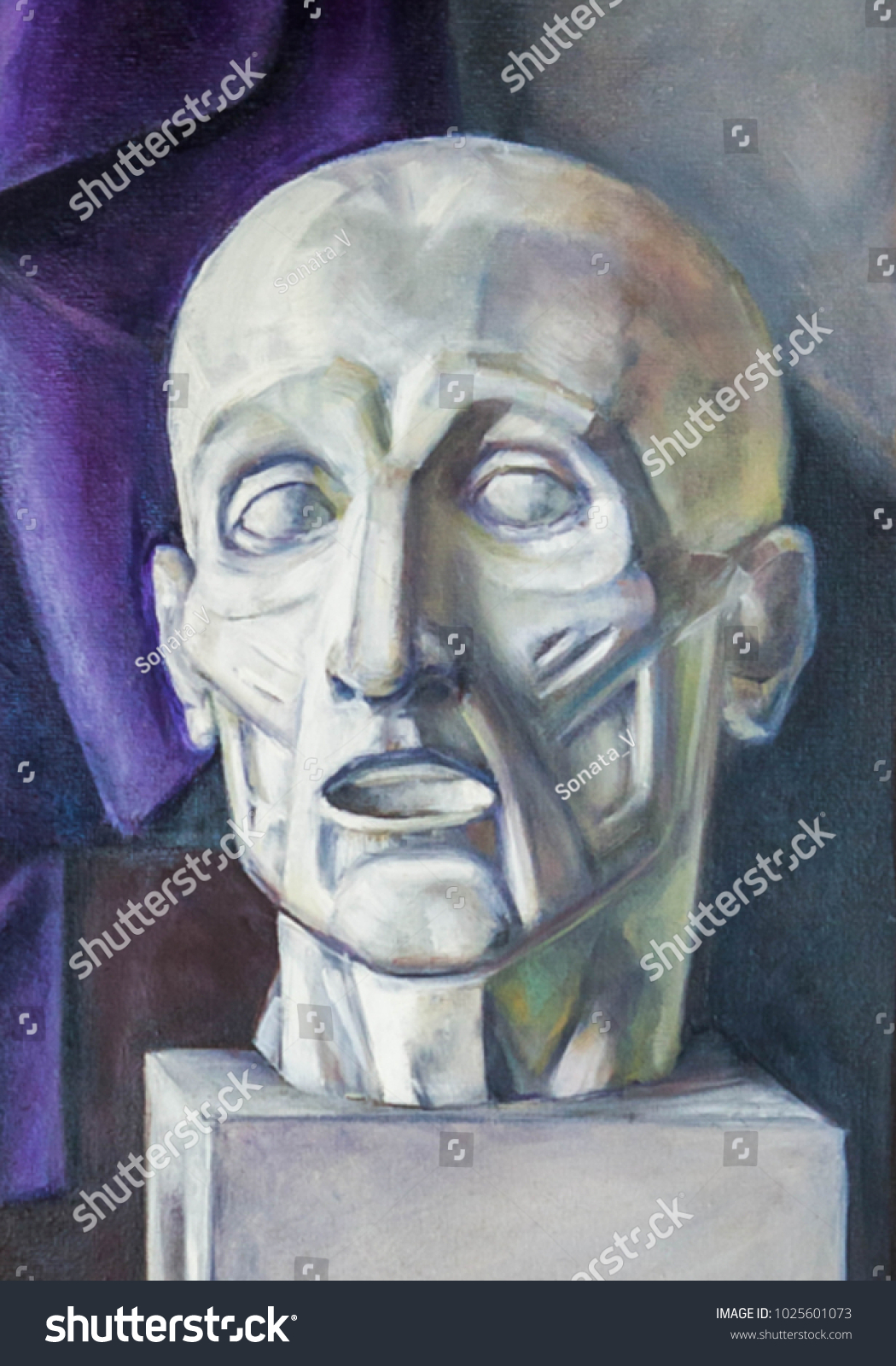 Oil Painting Gypsum Head Artists Muscles Stock Illustration ...