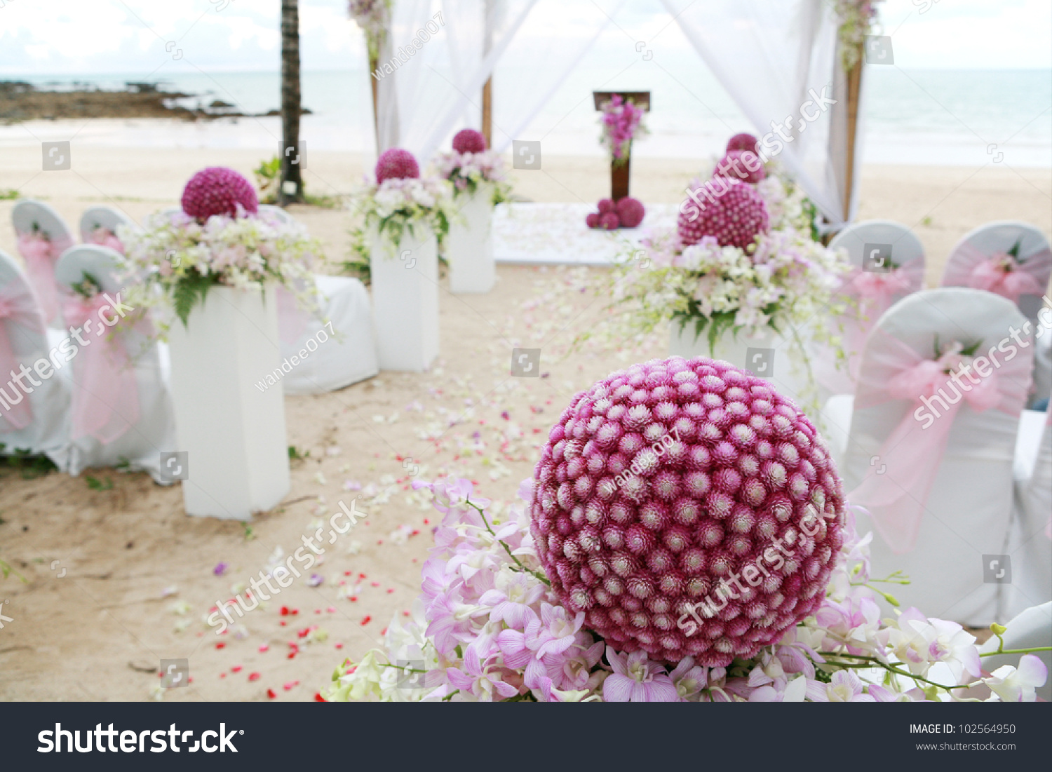 Floral Arrangement Wedding Ceremony On Beach Stock Photo (Royalty ...