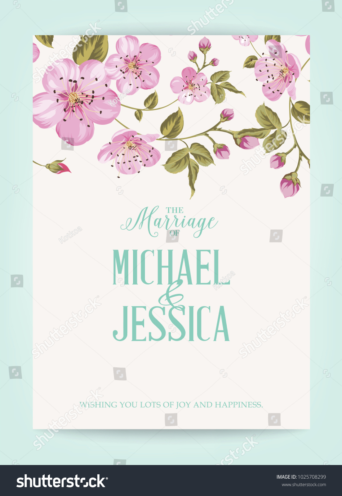 Marriage Invitation Card Pink Flowers Vintage Stock Vector