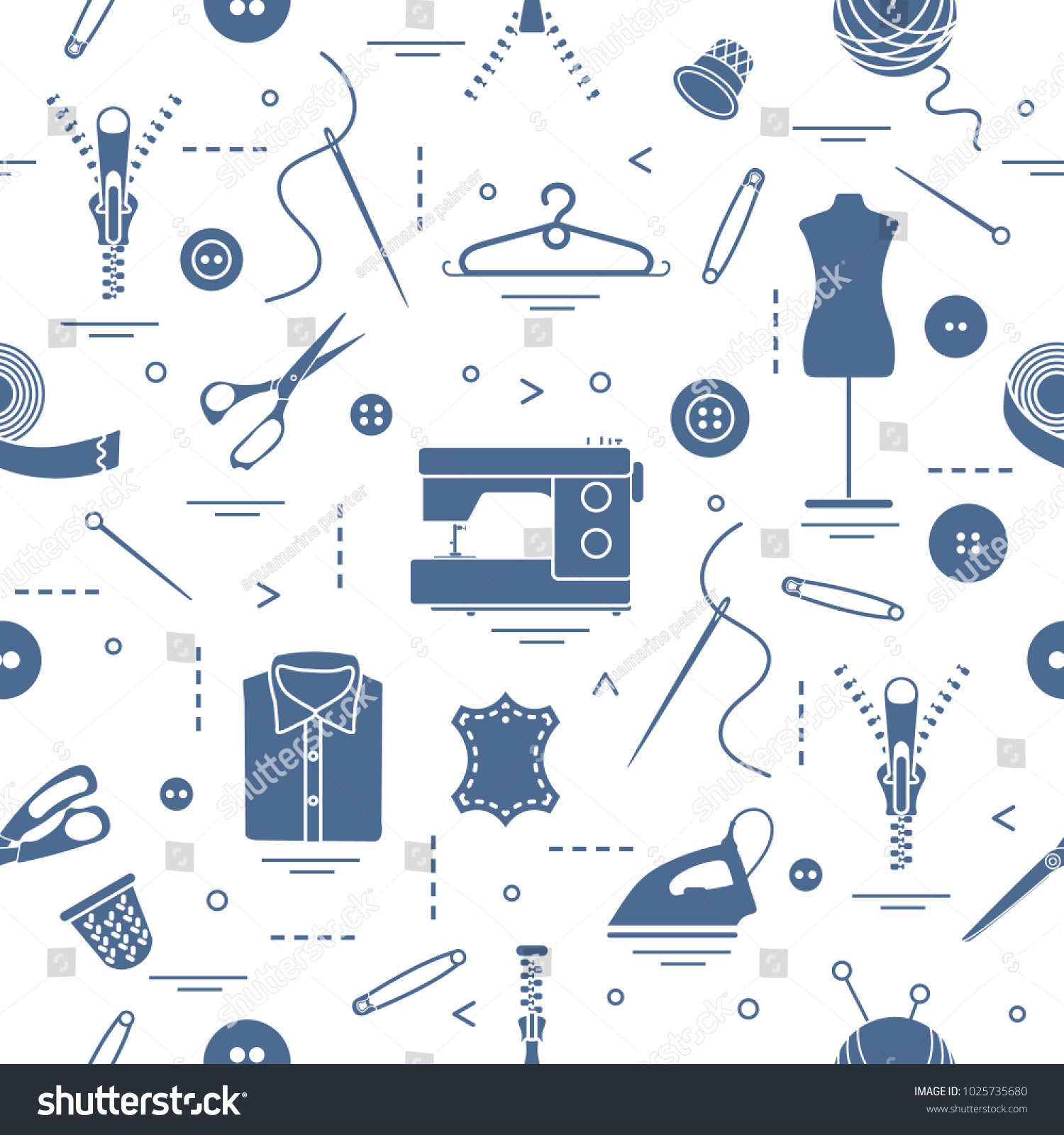 Seamless Pattern Tools Accessories Sewing Template Stock Vector ...