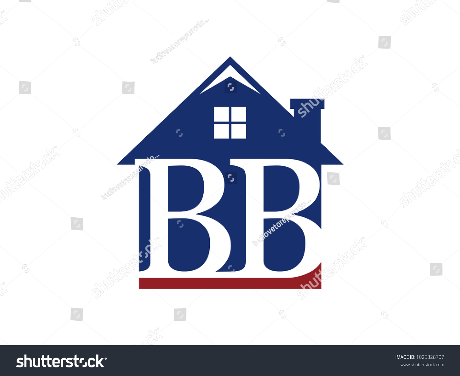 Logo House Building Initial Letter Bb Stock Vector Royalty Free