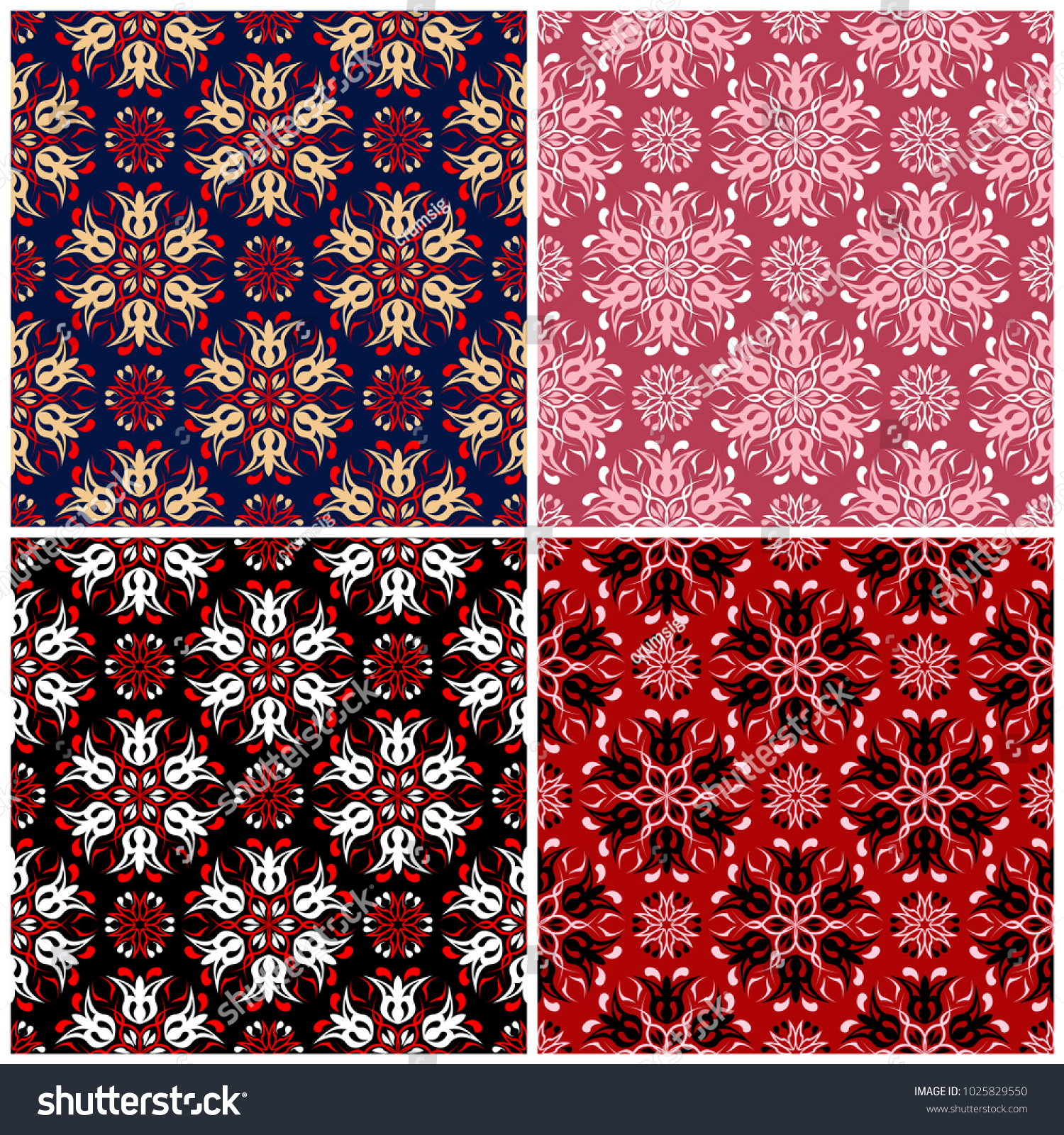 Set Seamless Backgrounds Floral Patterns Wallpapers Stock Vector