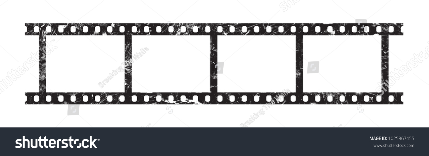 Close up six frames of classical 35 mm film strip isolated on white ...