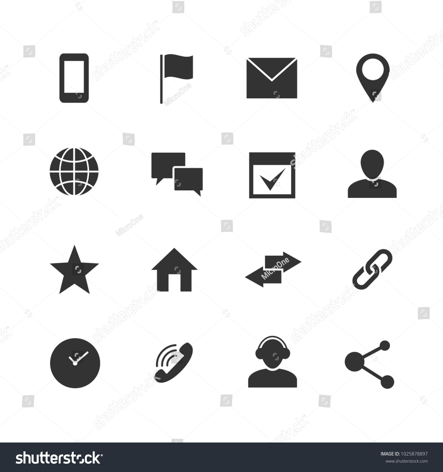 Contact Communication Internet Icons Home Phone Stock Illustration