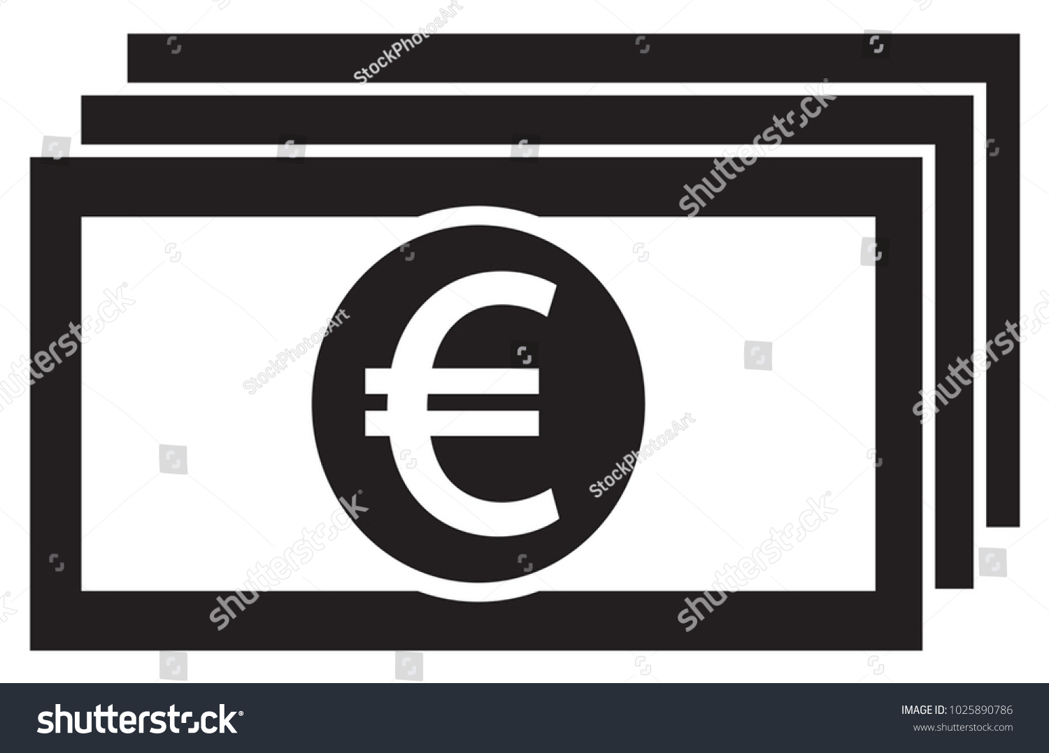 Euro currency icon logo vector on stock vector 1025890786 euro currency icon or logo vector on a bank note or bill symbol for european biocorpaavc Gallery